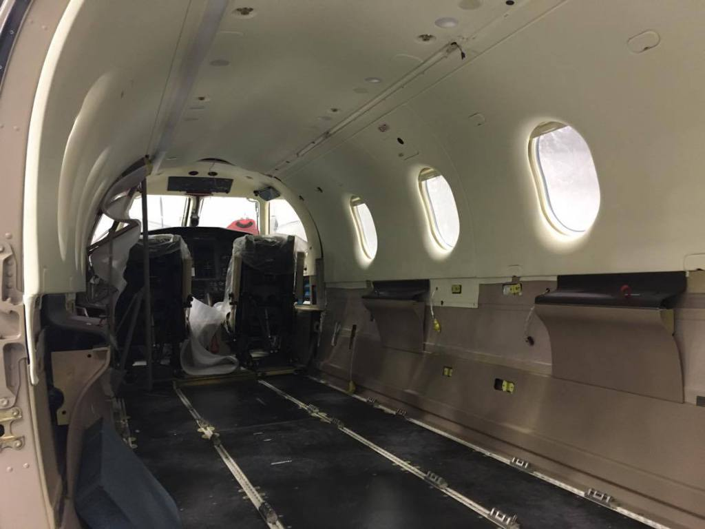 New, comfortable leather chairs, a brand new carpet, and new lighting were just a few of the interior upgrades made to the PC-12.